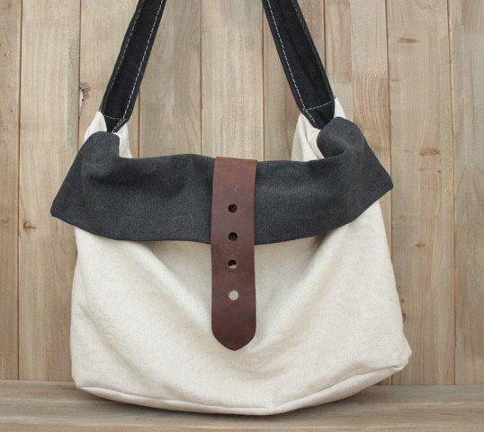 White-black Leather-canvas tote  Leather bag Canvas bag  Shopping bag  Stitch  bag Shoulder bag iPad bag.  69 2490a64b732eb