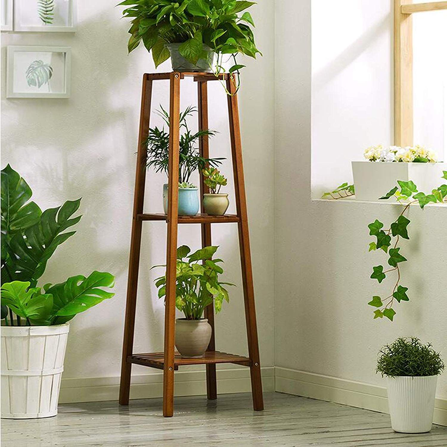 Magshion Bamboo 3 Tier Tall Plant Stand Pot Holder Small Space Table Walmart Com In 2020 Tall Plant Stands Plant Stand Wooden Plant Stands