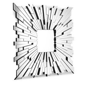 Zuo Modern Bang 47-In X 47-In Silver Polished Square Framed Wall Mirro