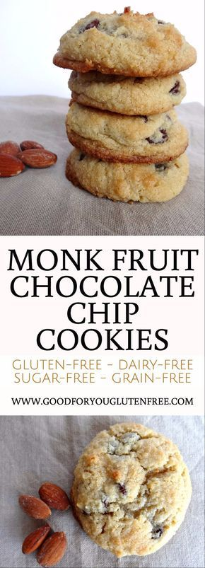 Monk Fruit Cookies Made with Chocolate Chips and Almond Flour