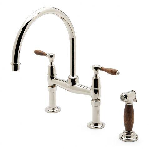 Easton Classic Two Hole Bridge Gooseneck Kitchen Faucet Oak Lever Handles And Spray Faucet Kitchen Faucet With Sprayer Black Kitchen Faucets