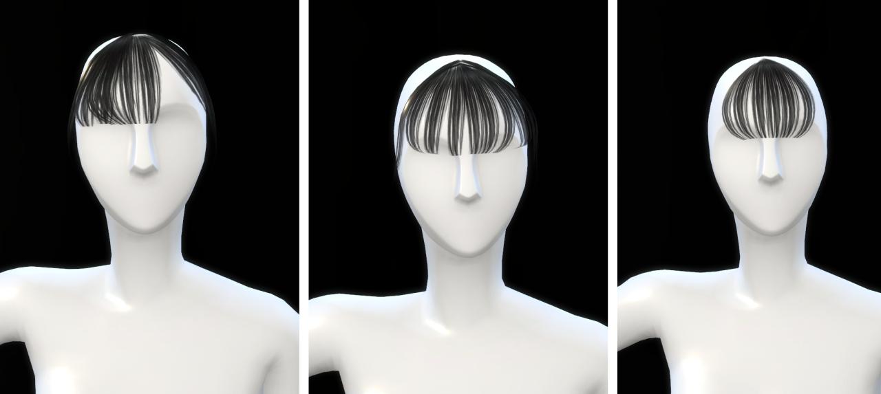 一枚空气刘海黑长直,这次的头发颜色大部分都比较小清新,做了一些渐变的颜色。 刘海做了三款,每款都只有黑、白、棕三种颜色。【因为太懒了orz 注:刘海在帽子选项下 Hair download:here Bang download:here