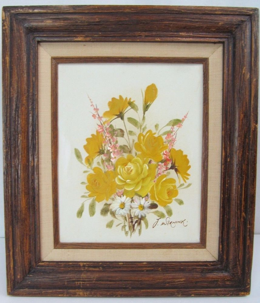 Vtg J Wernink Yellow Rose Flower Bouquet Spray Oil Framed Painting ...