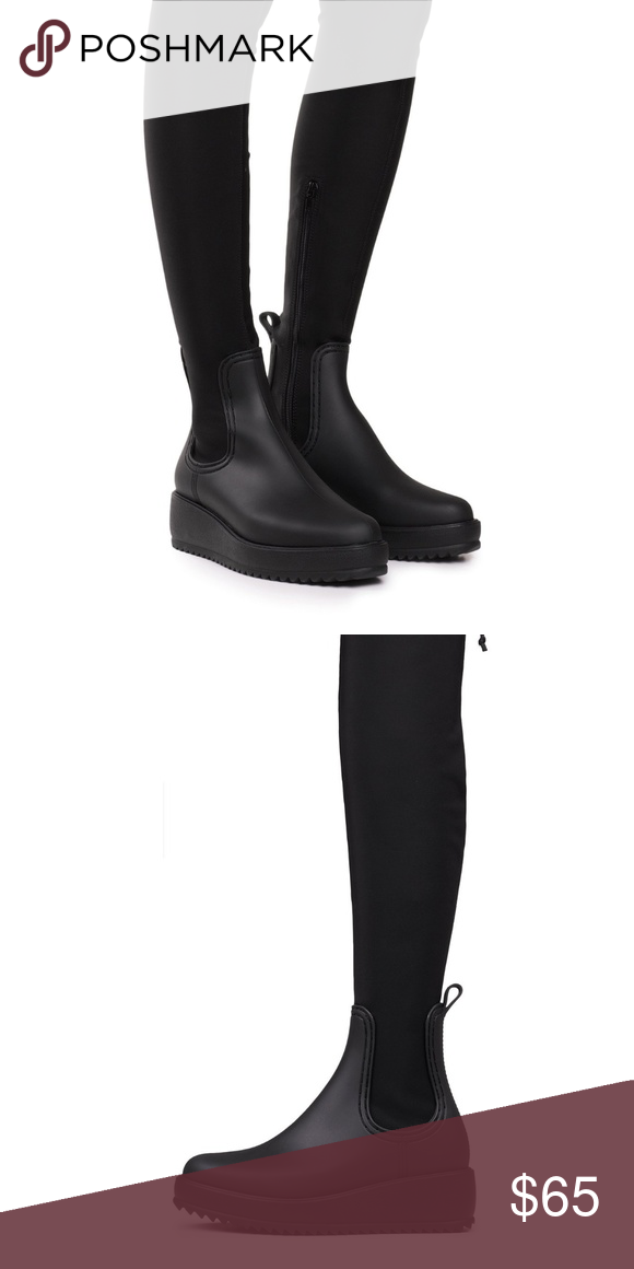 8e21bfffd90f Jeffrey Campbell monsoon OTK rain boots Thigh high water resistant rain  boots. Measurements from size 6  2