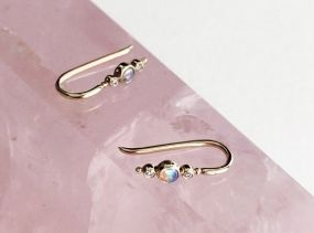 14k Gold Opal & Diamond Ear Climber - Gold Bar Earrings - Ear Cuff - Gift For Her - Simple Minimalist Everyday Jewelry LITTIONARY