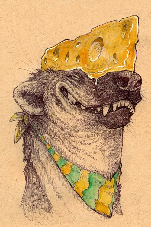 Cheesehead Hyena -- Silly wildlife art print by Cara Mitten