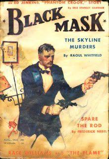 Vintage Black Mask crime fiction pulp magazine cover,  featuring Erle Stanley Gardner