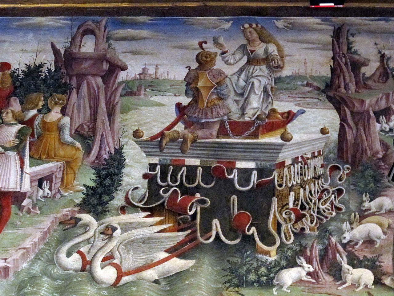Palazzo schifanoia, salone dei mesi, 04 aprile (f. del cossa), trionfo di venere 02.JPG