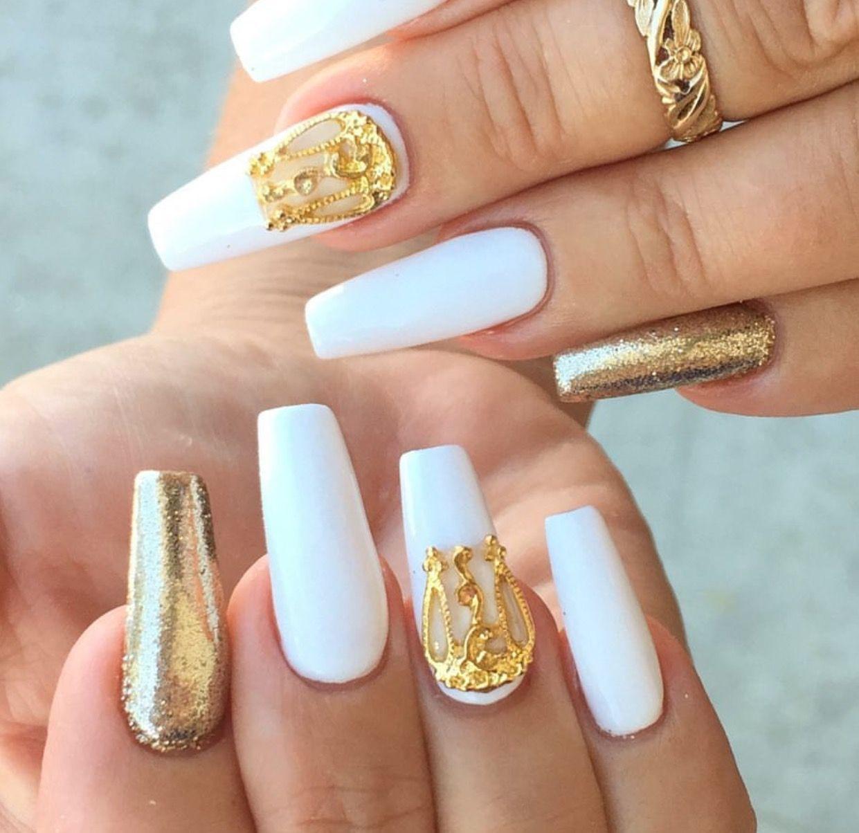 White Gold Square Coffin Nails Pinterest Nails Nail Art