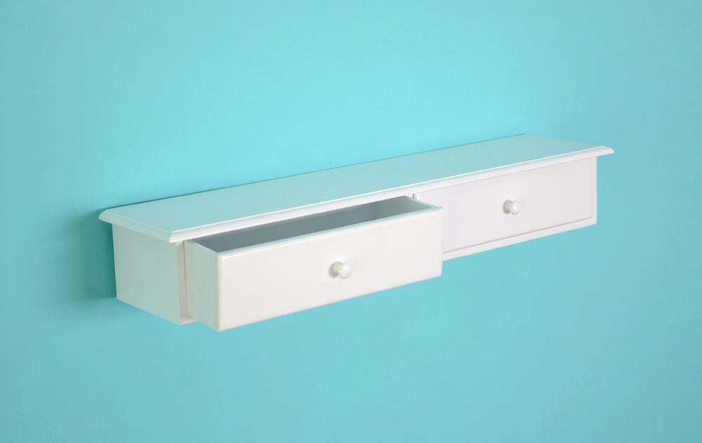 Wall Shelf With Drawer Minimalist Bedroom White Polyethylene Hard
