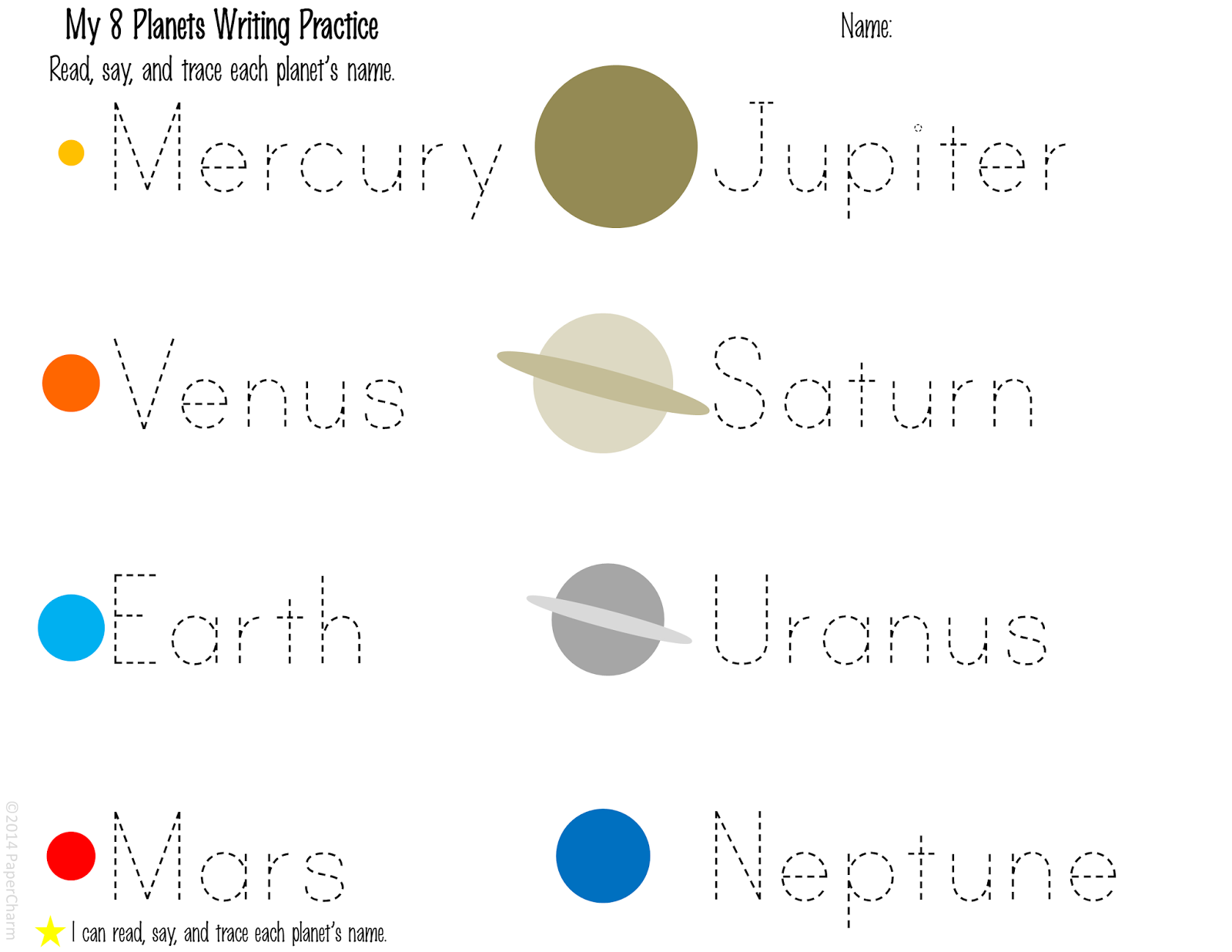 Free 1st Grade Planet Printables