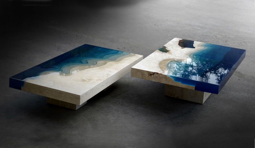 Lagoon Tables That Alexandre Chapelin Made By Merging Resin With Cut  Travertine Marble | Bored Panda