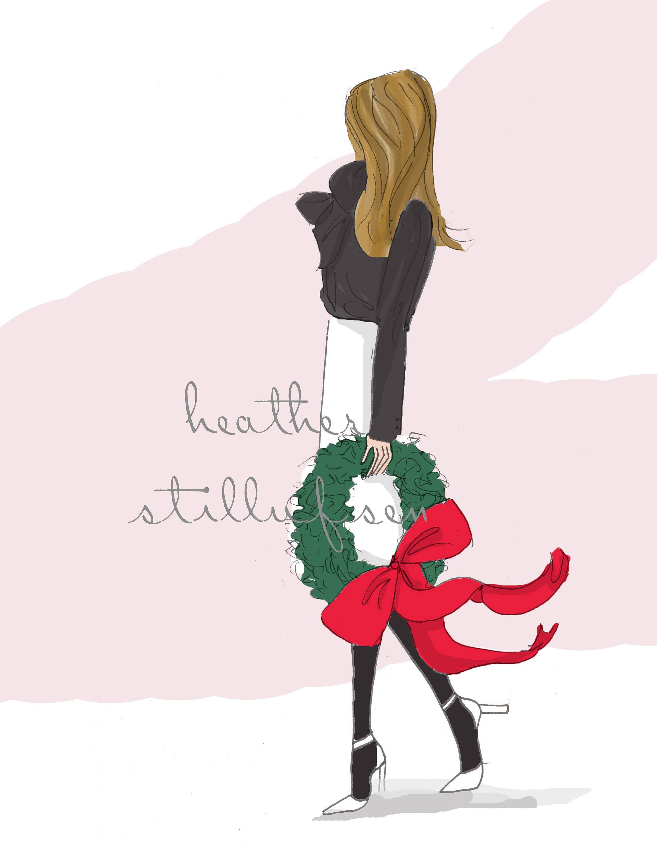 December 2017 Holiday Fashion Illustration Art For Women Etsy Happy Christmas Eve Heather Stillufsen Hello December