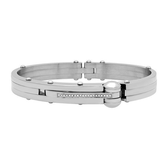 Zales Mens 1/10 CT. T.w. Diamond ID Bracelet in Stainless Steel - 8.5 HDroBkt