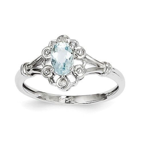 Sterling Silver Oval Genuine Aquamarine Diamond Accented Ring