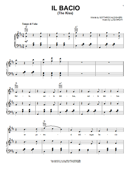 Il Bacio Beginner Piano Sheet Music Pdf