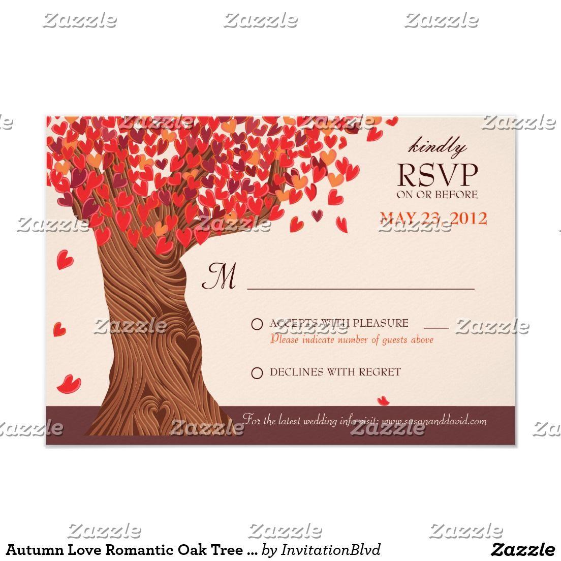 Autumn Love Romantic Oak Tree Fall Wedding RSVP   RSVP Cards ...
