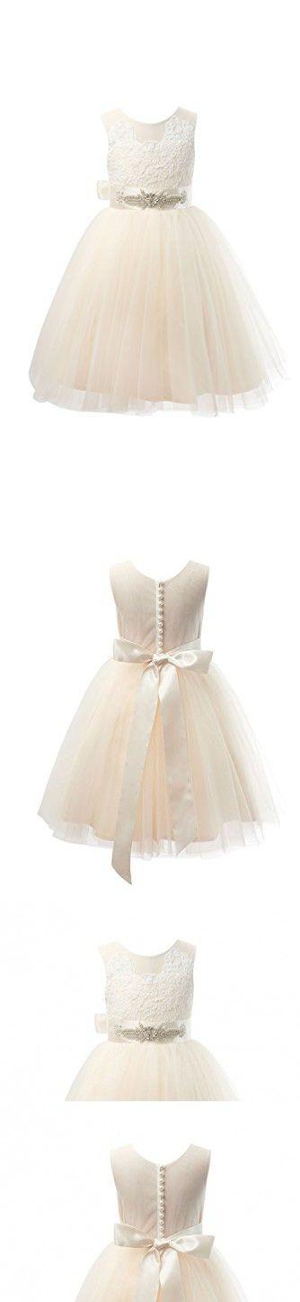 ae05f3fc838 Miama Champagne Lace Tulle Wedding Flower Girl Dress Junior Bridesmaid Dress