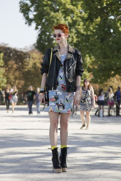 Cowboy Print Dress, Motorcycle Jacket, Motorcycle-esque boots with a heel, fun glasses