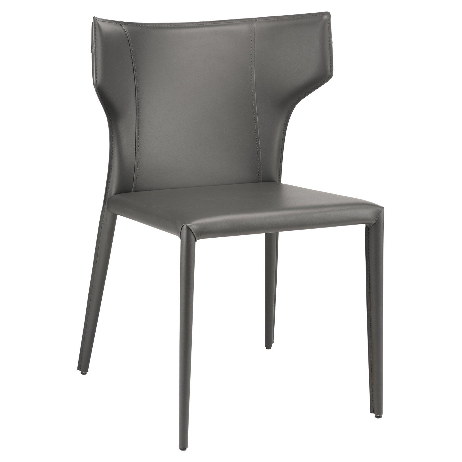 Nuevo Wayne Leather Upholstered Dining Chair Dark Gray Black