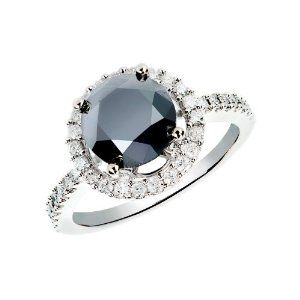 14k White Gold Anniversary Band Round Black Diamond Ring
