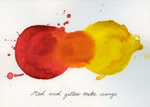 Mixing Colors Red And Yellow Make Orange Print From Original Watercolor Painting 5x7 On Etsy 18 00