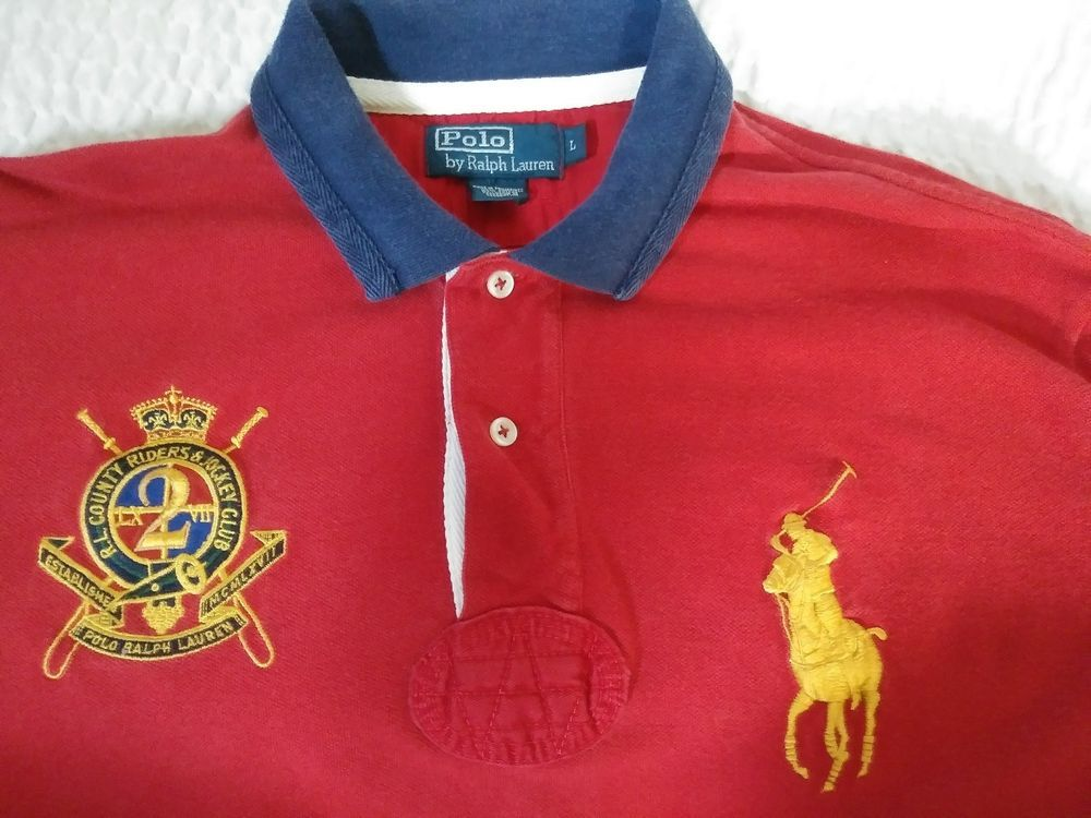Men s Polo Ralph Lauren County Riders   Jockey Club Rugby Big Pony Red  Shirt L  PoloRalphLauren  PoloRugby ec1d50d0fb9