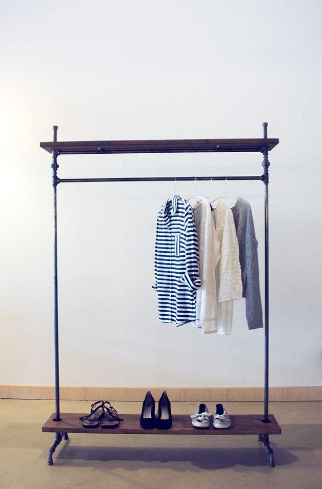 Kleiderstange Holz kleiderstange industry mit ablagen 1 5 m clothes racks