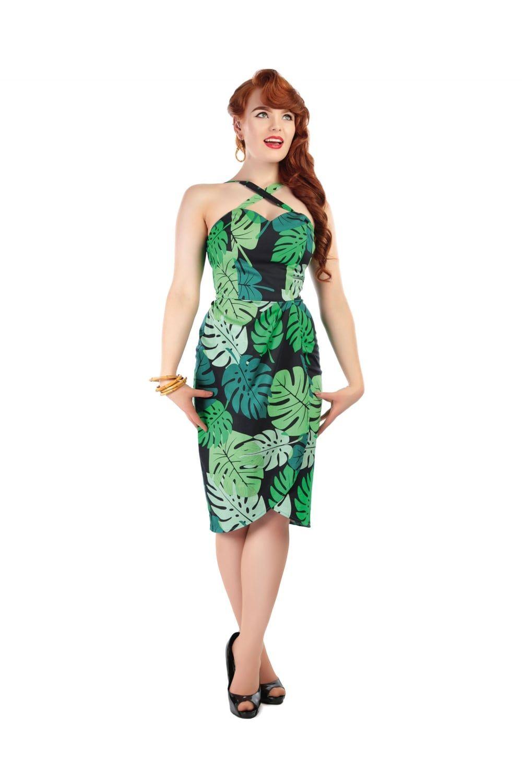 COLLECTIF MAINLINE MAHINA TAHITI PALM PRINT SARONG DRESS ...