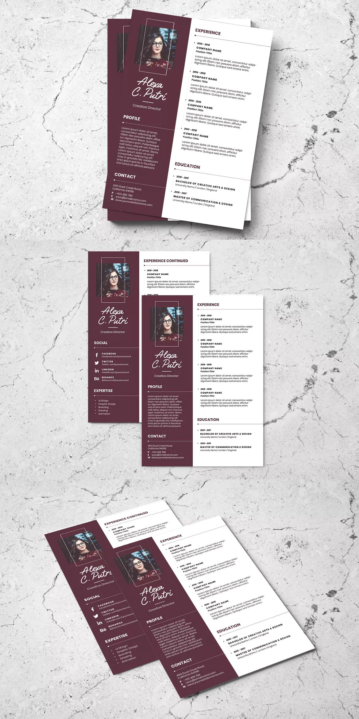 Clean Minimalist CV Resume AI and PSD Flyer Vol.1 by