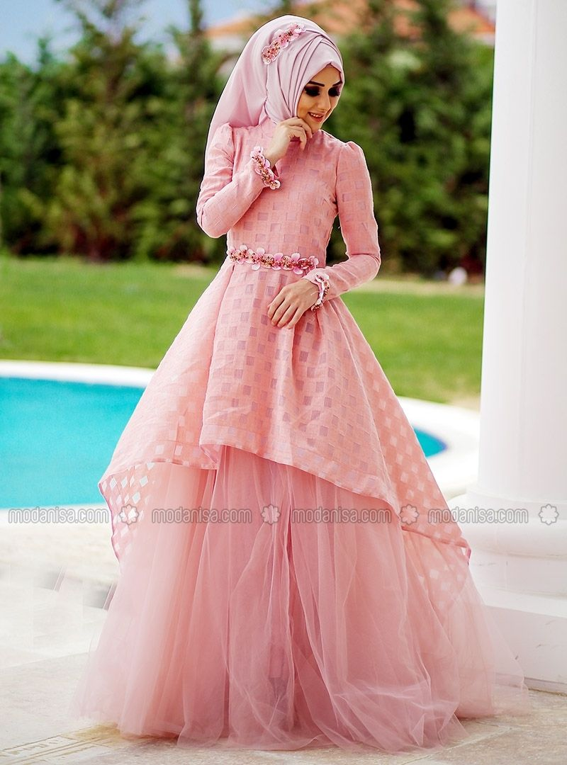 Simple Full Lined Powder Muslim Evening Dresses Minel Ask Muslim Fashion Hijab Outfits Muslim Evening Dresses Modest Fashion Hijab [ 1080 x 800 Pixel ]