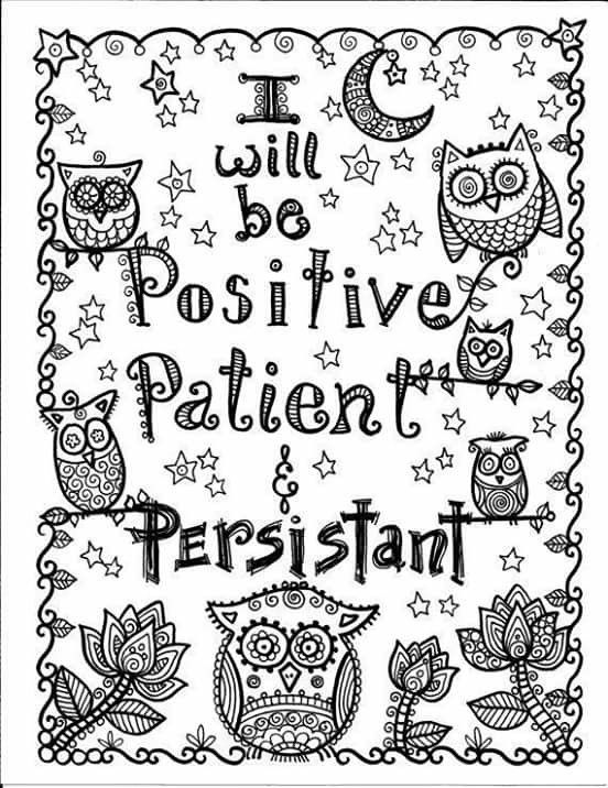 Positive Patient Persistent Coloring Books Quote Coloring