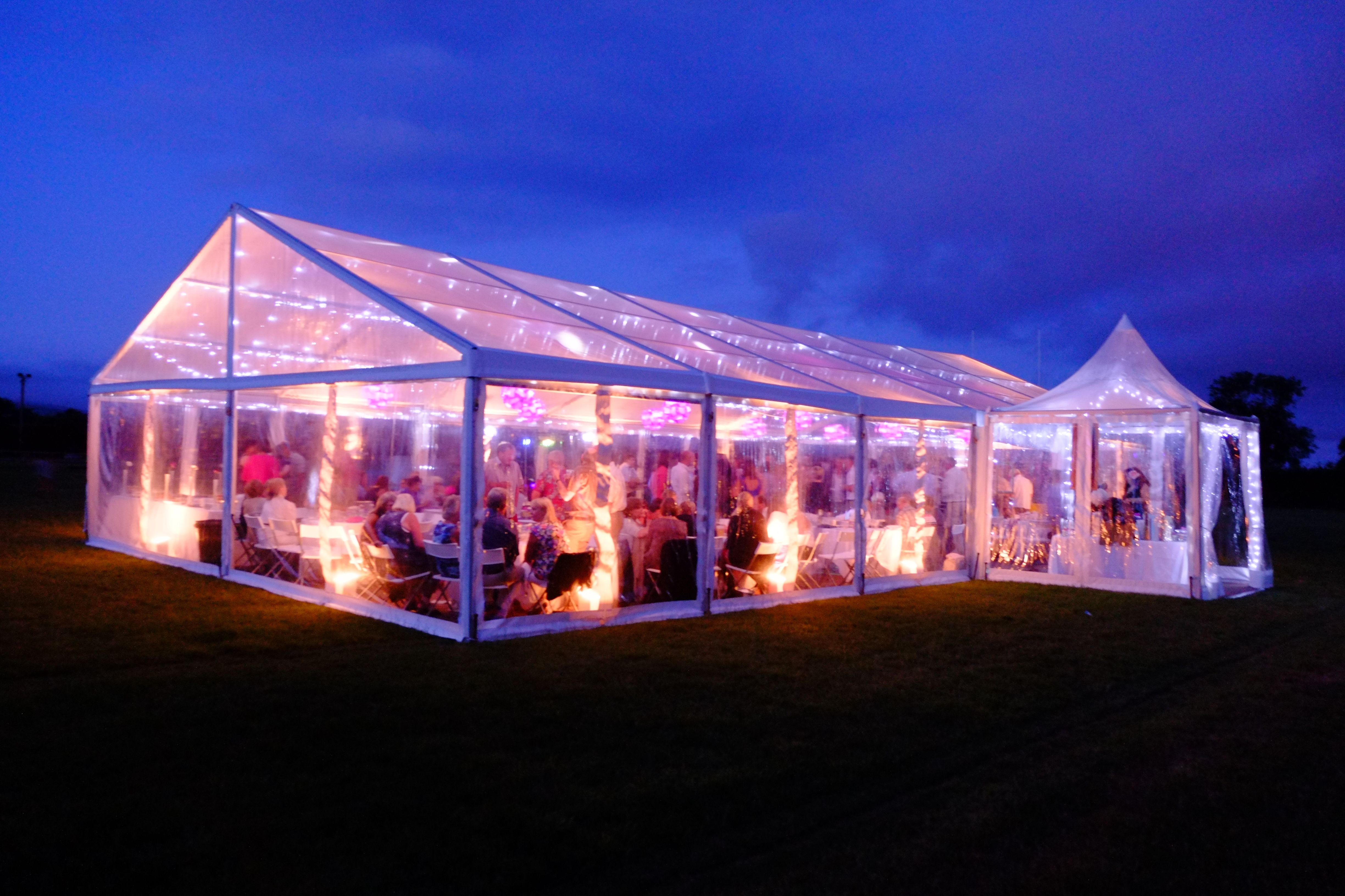 Party Marquee Fully Transparent With Lighting Uplighters And Twinkly Lights From The Transparent Marquee C Summer Garden Party Event Lighting Marquee Lights
