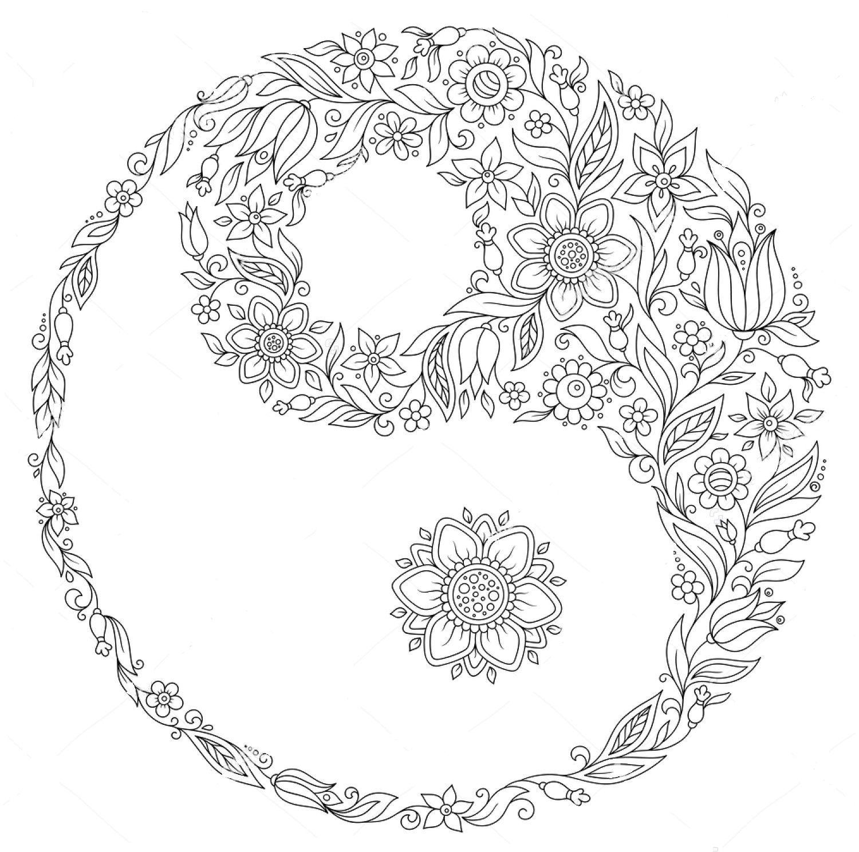 Yin Yang Zentangle Coloring Page