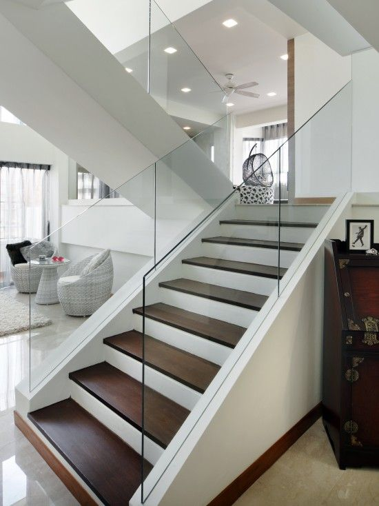 Interior Balcony Railings With Cathedral Ceiling Design Pictures Remodel Decor And Ideas Page 47 Home Stairs Design Contemporary Stairs Modern Staircase