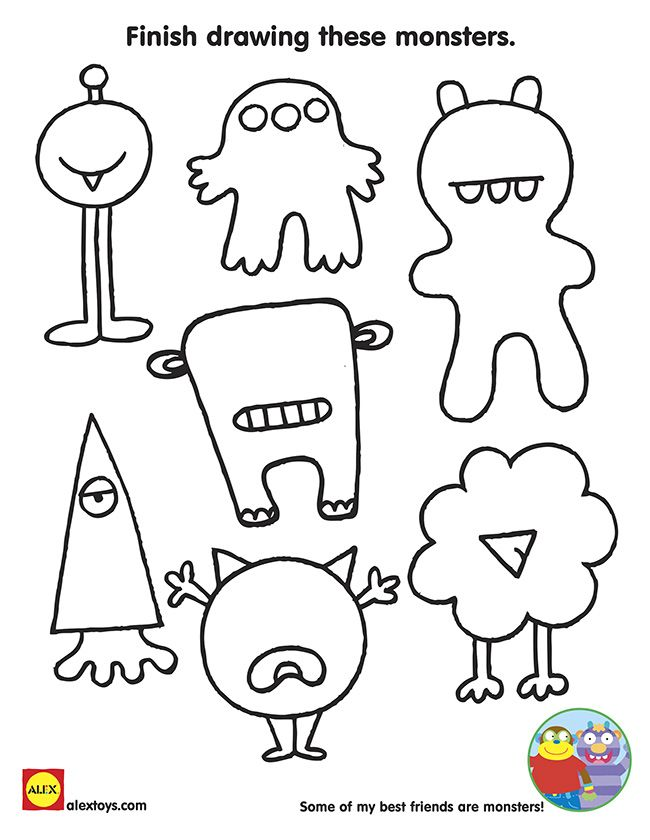 finish drawing these monsters free printable coloring sheet for kids for halloween