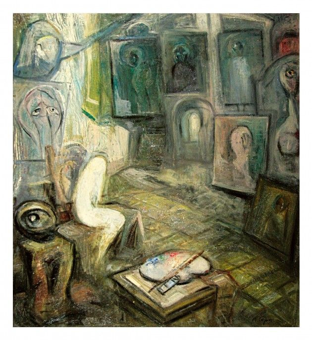 Aurel Cojan (1914-2005).   Himere in atelier, Ulei pe panza, 63 x 70 cm.