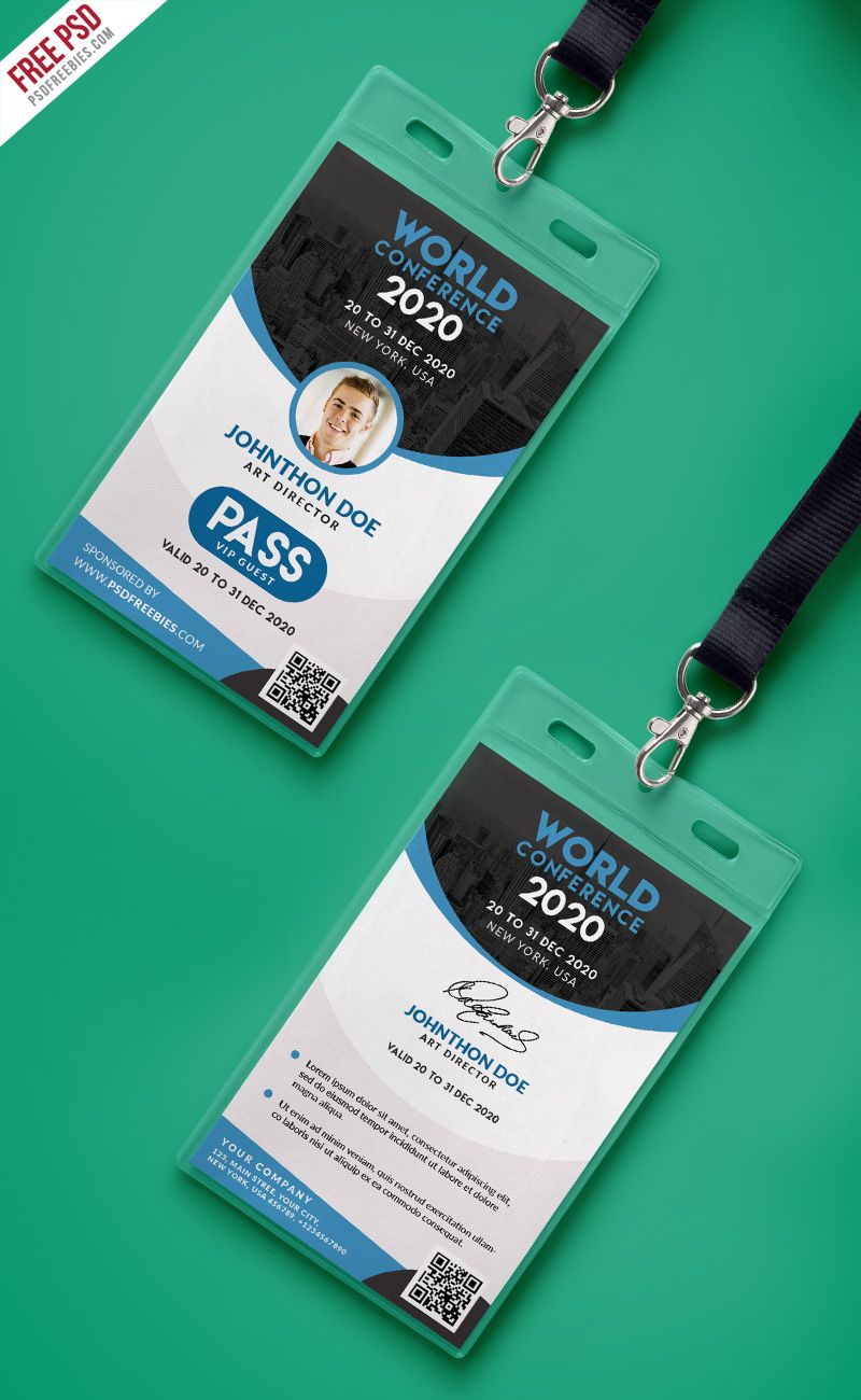 conference vip entry pass id card template psd psd print template