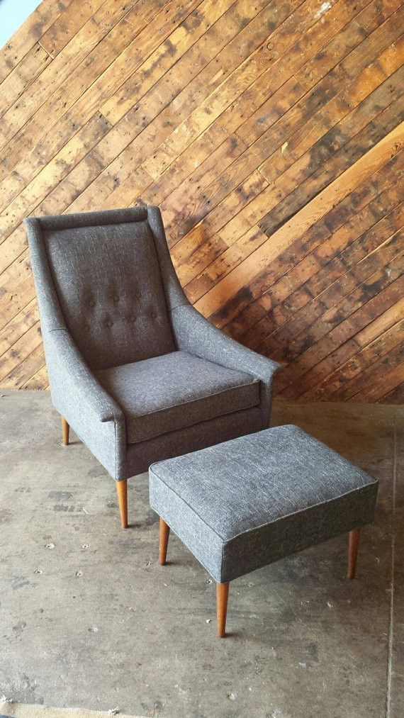 Mid Century Blue Grey Lounge Chair With Ottoman