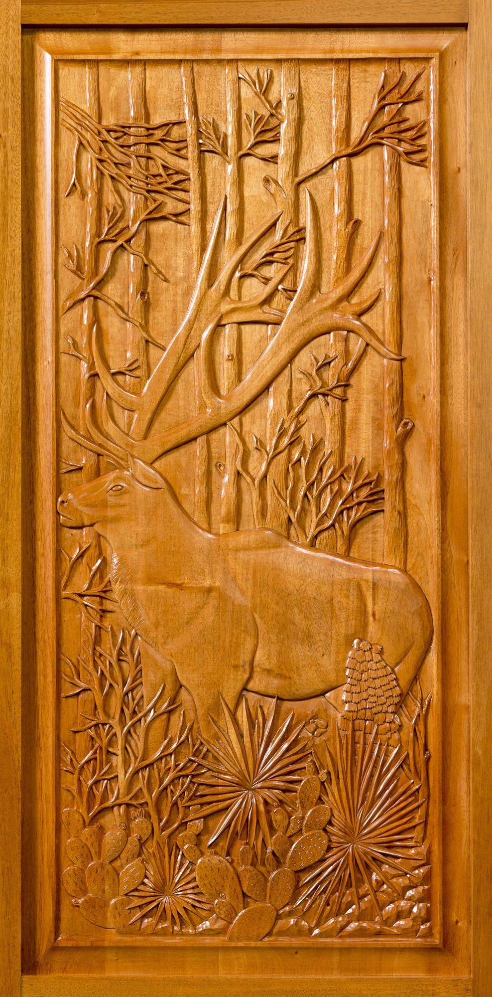 Hand carved handcrafted solid genuine mahogany panel art functional