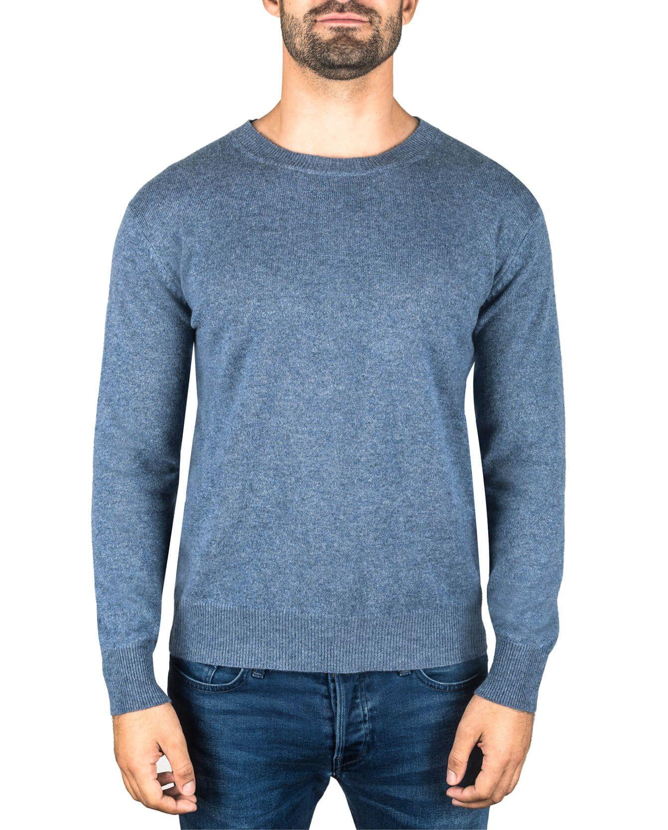 3601abed188f Herren Kaschmir Pullover Rundhals jeans blau front   CASH-MERE.CH ...