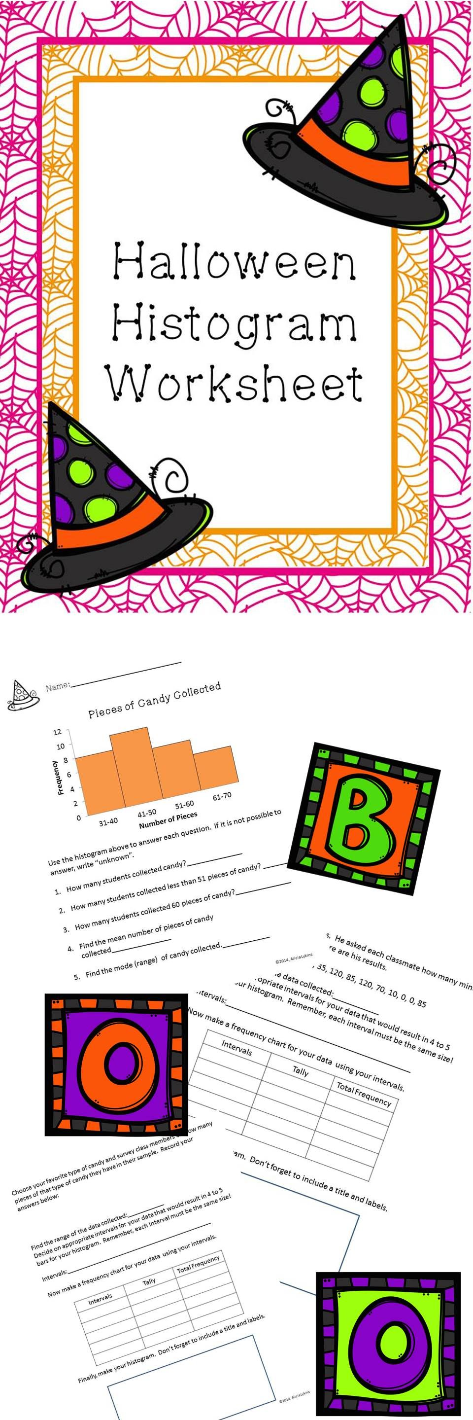 worksheet Histograms Worksheets halloween histogram worksheet worksheets activities and math spooky sweet making interpreting histograms as well the option for