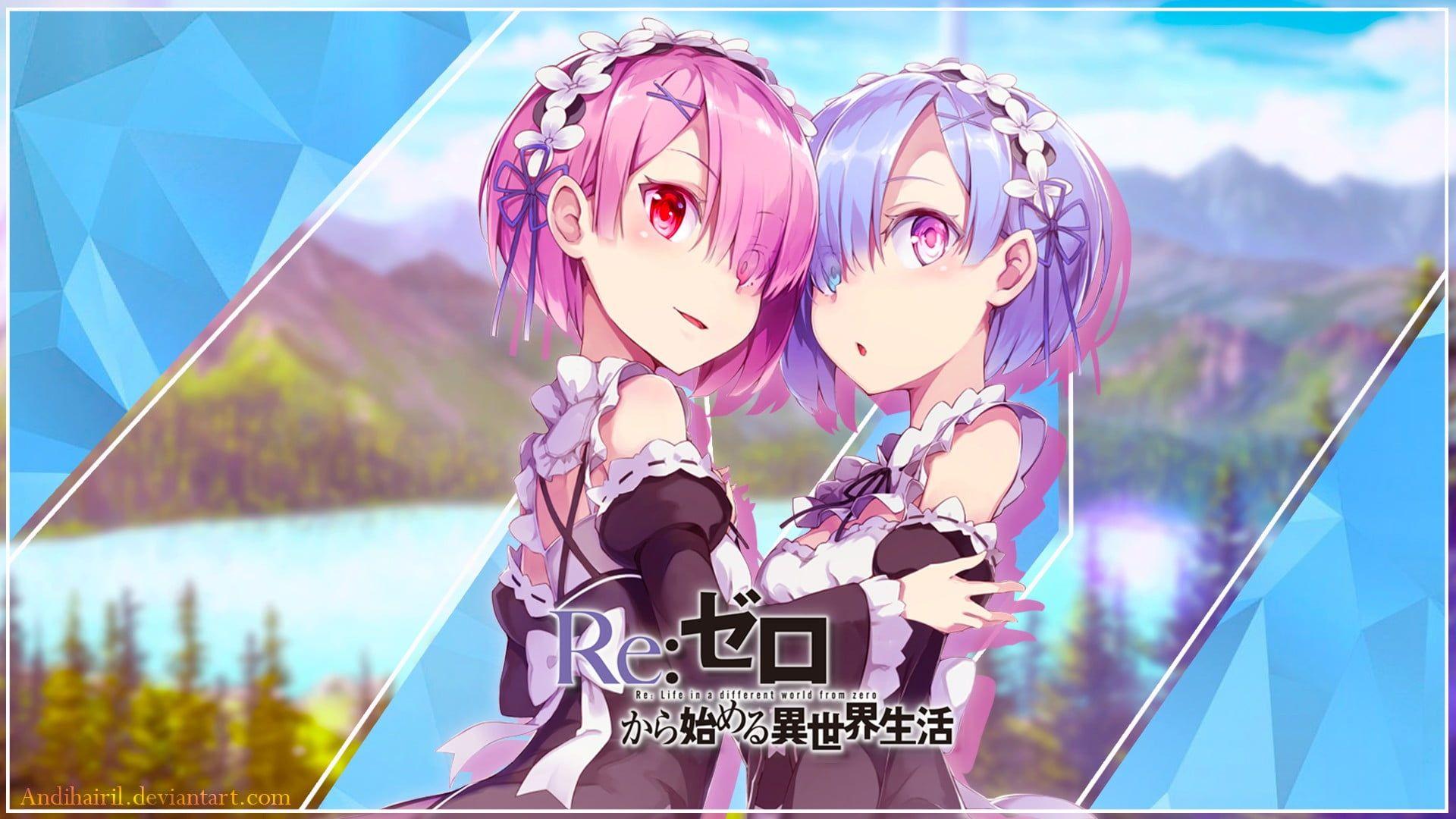 Ram And Rem Re Zero Characters Digital Wallpaper Re Zero Kara Hajimeru Isekai Seikatsu Anime Girls Rem Re Zero Ram Re Zero Landscape Anime Red Eyes Purp