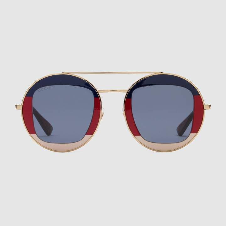 a8fee077d Round-frame metal sunglasses | Products | Sunglasses, Gucci, Gucci ...