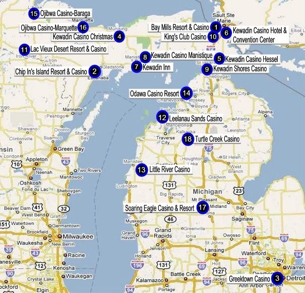 Casinos In Michigan Map Michigan Gaming Directory | Casinos in michigan, Michigan, Casino