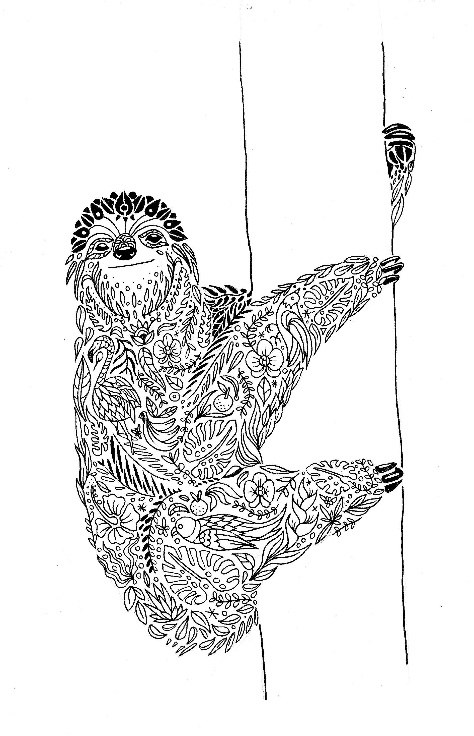 Sloth Mandala Diego Ayerbe Coloring Pages Sloth Tattoo Adult
