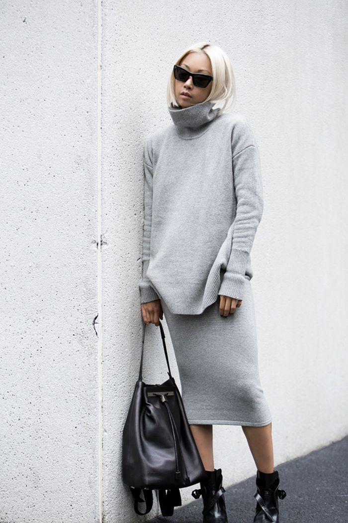 Whistles Knit turtleneck & skirt, The Row backpack, Zara boots), Celine sunglasses http://FashionCognoscente.blogspot.com