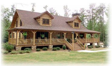 Dream homes on pinterest wrap around porches log homes for House plans with porch all the way around