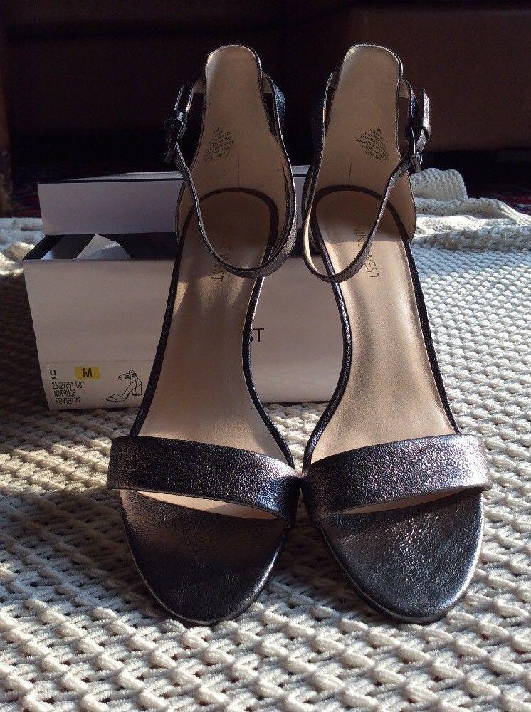 a4b411d5145 Women s Nine West Pruce Pewter Block Heel Sandal SHOES Size 9 M With ...