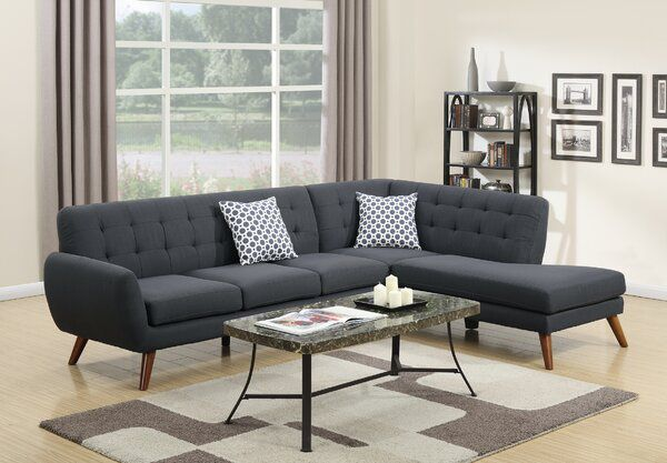 Millette 111 Right Hand Facing Sectional Sofa Chaise Mid Century Sectional Sofa Modern Furniture Living Room Sectional Sofa Couch